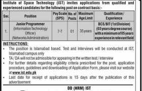 Jobs in Institute of Space Technology (IST) Islamabad 2020