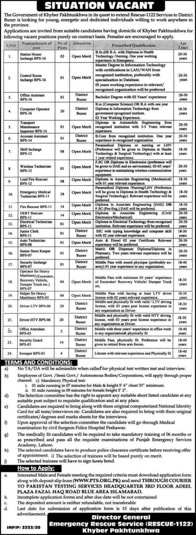 Rescue 1122 Khyber Pakhtunkhwa Jobs 2020
