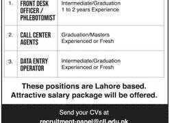 Jobs in Chughtai Lab Lahore 2020