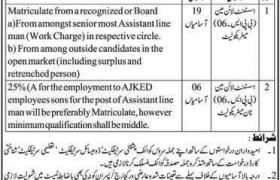 Jobs in Office of the Chief Engineer Electricity Muzaffarabad 2020