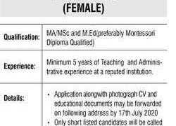 Army Public School and College Kohat Campus Pre School Campus Jobs 2020