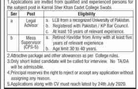 Karnal Sher Khan Cadet College Swabi Jobs 2020