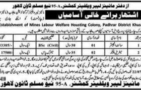 Office of Mines Labor Welfare Commissioner New Muslim Town Lahore Jobs 2020