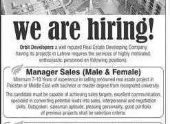 Orbit Housing Lahore Jobs 2020
