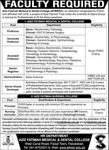 Aziz Fatimah Medical & Dental College (AFM&DC) Faisalabad Jobs 2020