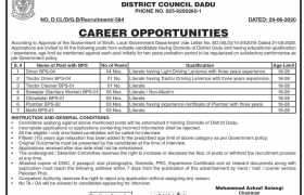 Office of the Chairman District Council Dadu Sindh Jobs 2020