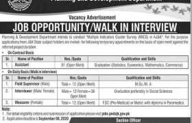 Planning and Development Department Azad Jammu Kashmir Jobs 2020