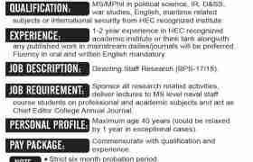 Pakistan Navy War College Lahore Jobs 2020
