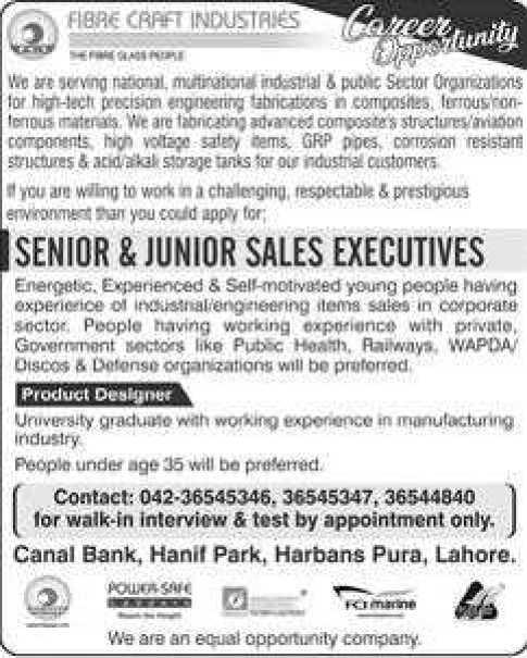 Fibre Craft Industries Lahore Jobs 2020