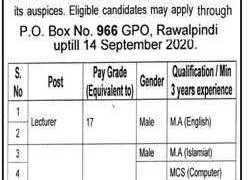 Reputable Public Sector Organization Rawalpindi Jobs 2020