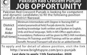 Pakistan Red Crescent Society Narowal Jobs 2020