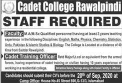 Cadet College Rawalpindi Jobs 2020