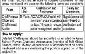 Aamir Salman Rizwan Chartered Accountants Jobs 2020