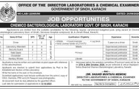 Chemico Bacteriological Laboratory Sindh Jobs 2020