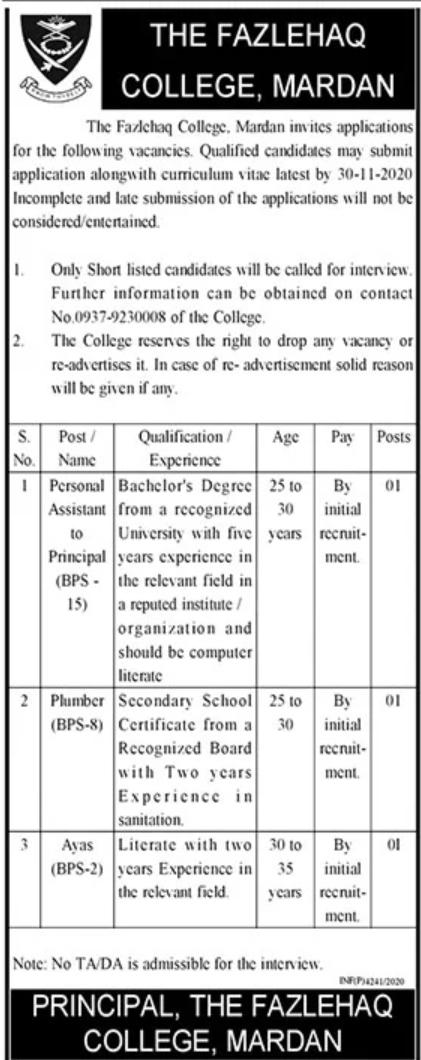 Fazlehaq College Mardan Jobs 2020