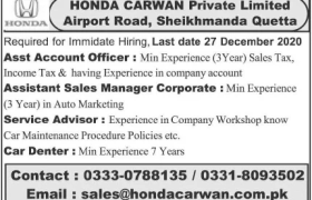Honda Carwan Quetta Jobs 2020