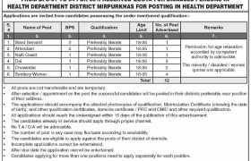 Health Department Mirpurkhas Jobs 2020