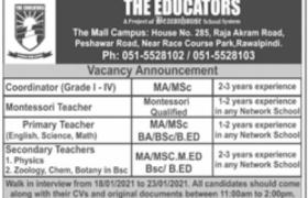 The Educators Rawalpindi Walk-in-interview 2021