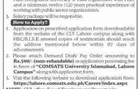 COMSATS University Lahore Campus Jobs 2021