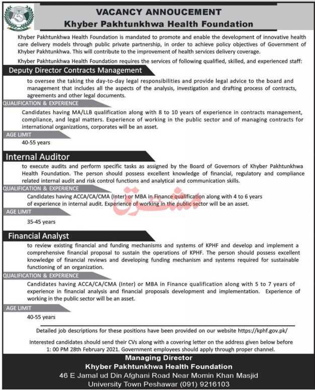 Khyber Pakhtunkhwa Health Foundation Jobs 2021