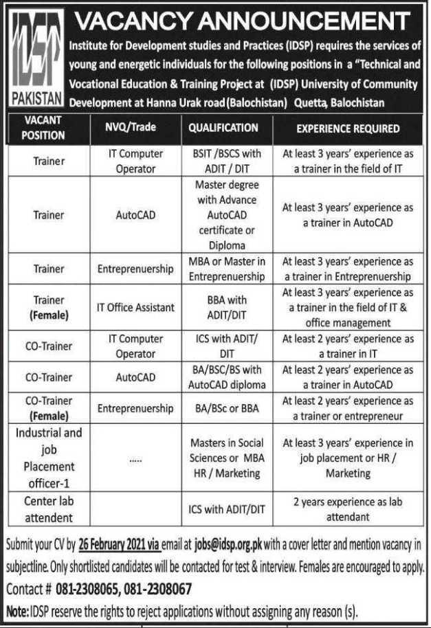 IDSP Quetta Jobs 2021
