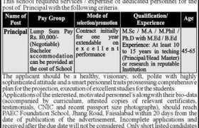 PAEC Foundation School Jobs 2021