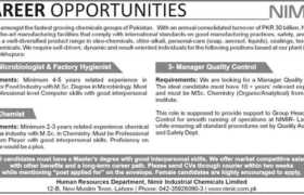 NIMIR Industrial Chemicals Limited Jobs 2021