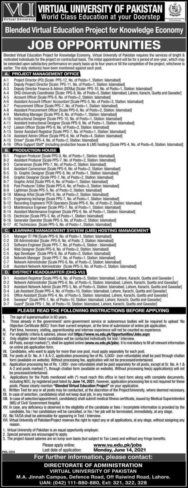 Virtual University of Pakistan Jobs 2021
