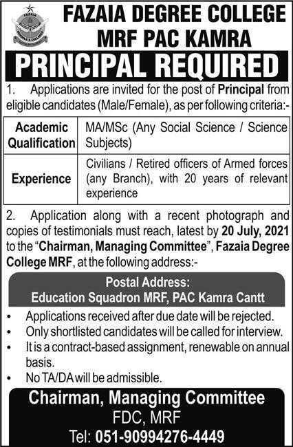 Fazaia Degree College Kamra Jobs 202