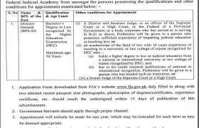 Jobs in Federal Judicial Academy Islamabad 2021