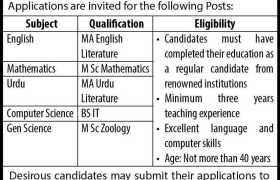 Fazaia Degree College Faisal Jobs 2021