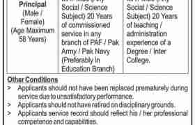 Fazaia Degree College Peshawar Jobs 2021