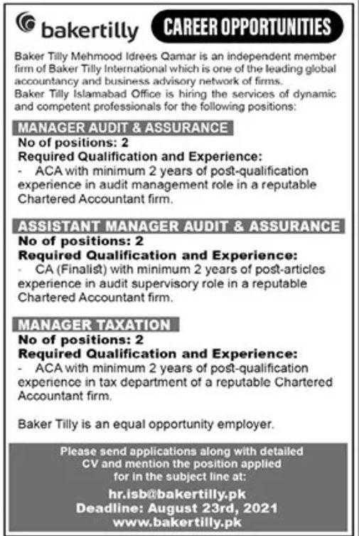 Jobs in Baker Tilly Islamabad 2021