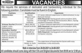 Jobs in The Educators Rawalpindi 2021