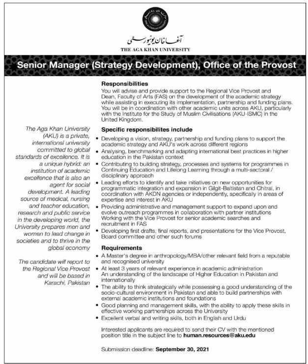 Jobs in The Aga Khan University 2021