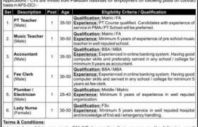 Army Public School Defence Complex Jobs 2021