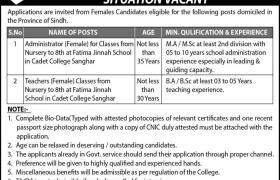 Jobs in Cadet College Sanghar 2021
