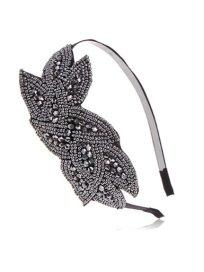 Alilang Black Gunmetal Grey Beaded Floral Leaf Bunch Retro Flapper Fashion Hair Headband http://amzn.to/19XvgpB