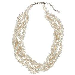 John Lewis Twist Faux Pearl Chunky Necklace, Silver http://bit.ly/1ciaRLq