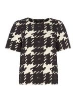 WEEKEND MAXMARA Black And White Houndstooth Checked Top http://goo.gl/qw0pxS