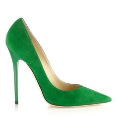 Jimmy Choo ANOUK Emerald Suede Pointy Toe Pumps