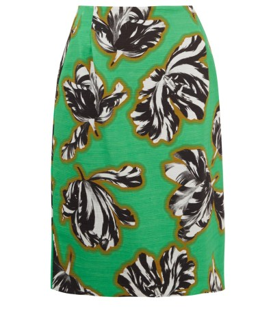 JONATHAN SAUNDERS GREEN SYLVIA TULIPS PRINT PENCIL SKIRT