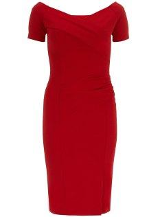 Dorothy Perkins Fever Fish Red Off Shoulder Dress