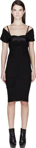 Nina Ricci Black Crepe Off-Shoulder Dress