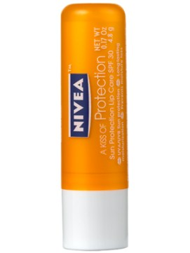 SPF LIP BALM | Nivea A Kiss of Protection Sun Protection Lip Care SPF 30, $3.25 from nivea.com