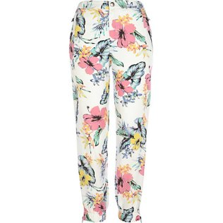 RIVER ISLAND WHITE TROPICAL FLORAL PRINT JOGGERS, from riverisland.com