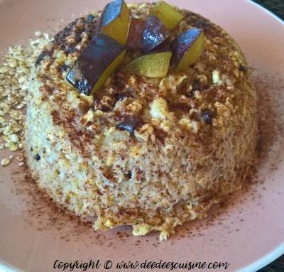 Bowl cake banane, chocolat et flocons d'avoine