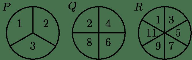 [asy] size(200); path circle=circle((0,0),2); path r=(0,0)--(0,2); draw(circle,linewidth(1)); draw(shift(5,0)*circle,linewidth(1)); draw(shift(10,0)*circle,linewidth(1)); draw(r,linewidth(1)); draw(rotate(120)*r,linewidth(1)); draw(rotate(240)*r,linewidth(1)); draw(shift(5,0)*r,linewidth(1)); draw(shift(5,0)*rotate(90)*r,linewidth(1)); draw(shift(5,0)*rotate(180)*r,linewidth(1)); draw(shift(5,0)*rotate(270)*r,linewidth(1)); draw(shift(10,0)*r,linewidth(1)); draw(shift(10,0)*rotate(60)*r,linewidth(1)); draw(shift(10,0)*rotate(120)*r,linewidth(1)); draw(shift(10,0)*rotate(180)*r,linewidth(1)); draw(shift(10,0)*rotate(240)*r,linewidth(1)); draw(shift(10,0)*rotate(300)*r,linewidth(1)); label(