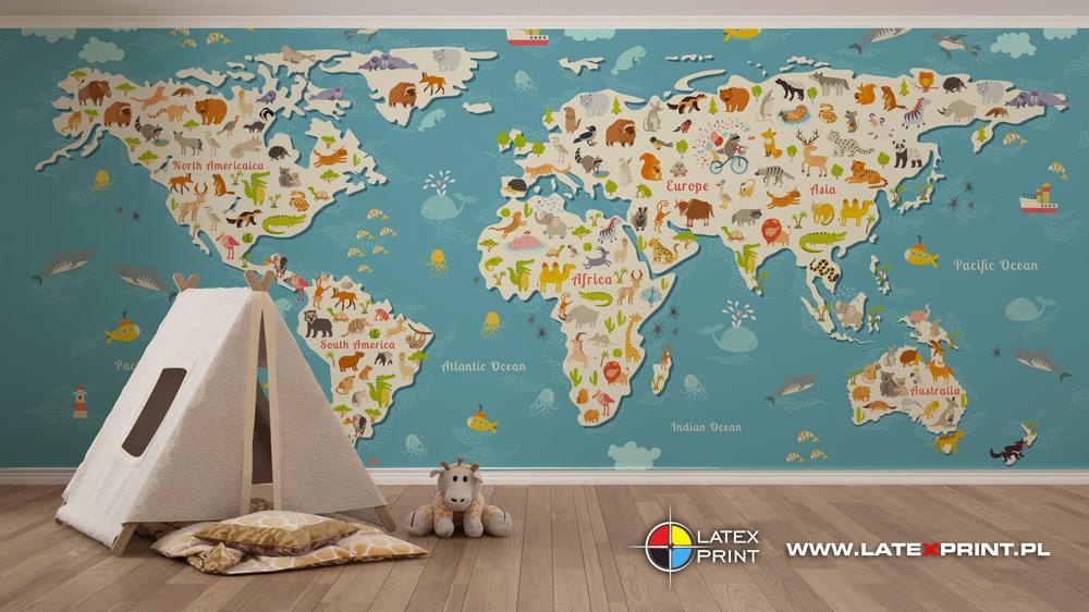 Wallart - Rysunkowa Mapa Świata - tapeta na wymiar