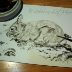 "Untitled Rabbit work-in-progress, 5"" x 7"", sepia watercolor on board, ©Rebecca Latham"